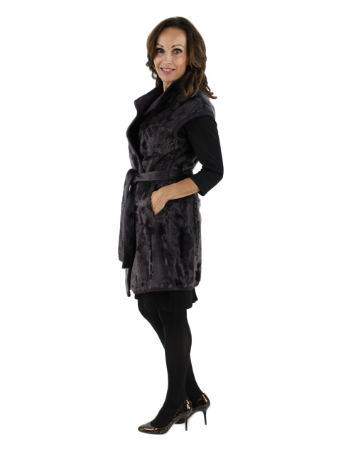 Gorski Woman's Plum Lamb Fur Vest