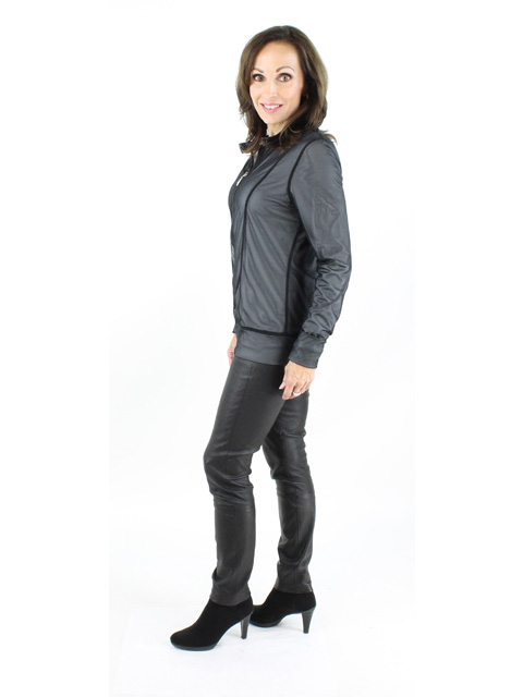 Woman's Silver And Black Mesh Jacket