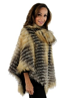Gorski Woman's Cross Fox Fur Layered Poncho