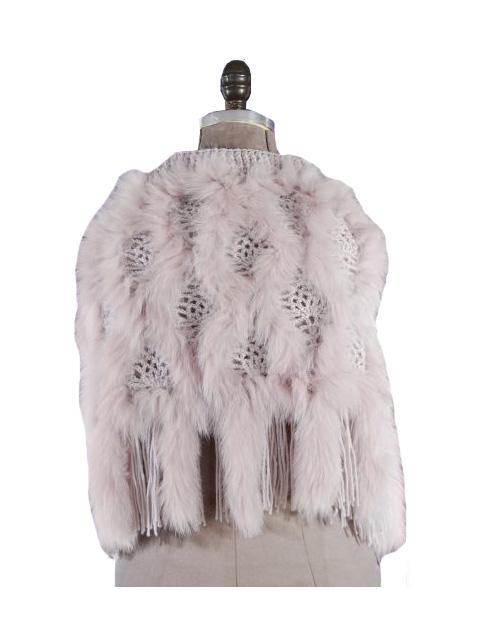 Wool Fox Fur Knitted Shawl