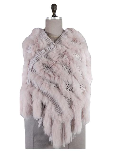 Casual Day to Evening Blush Wool Fox Knitted Shawl