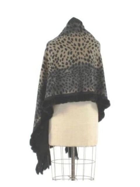 Leopard Print Cashmere Wrap w/ Rex Rabbit Fur Trim