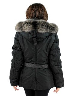 Gorski Woman's  Apres Ski Jacket (Fox Trimmed Hood and Leather Details)