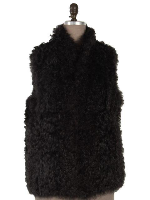 Day to Evening Designer Black Kalgan Lamb Vest (Adjustable Waist)