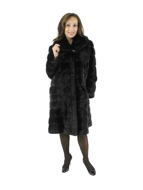 One of a Kind Art Deco Gorski Designer Black Mink 7/8 Fur Coat