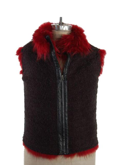 Finn Raccoon Fur Vest Reversible to Boucle