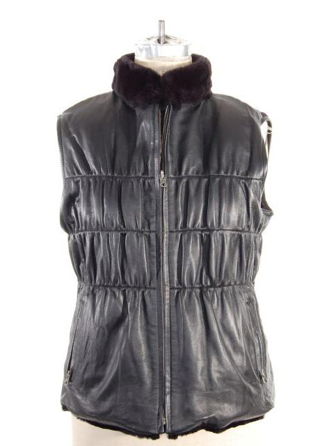 Rex Rabbit Fur Leather Trimmed Vest w/ Gathered Waist