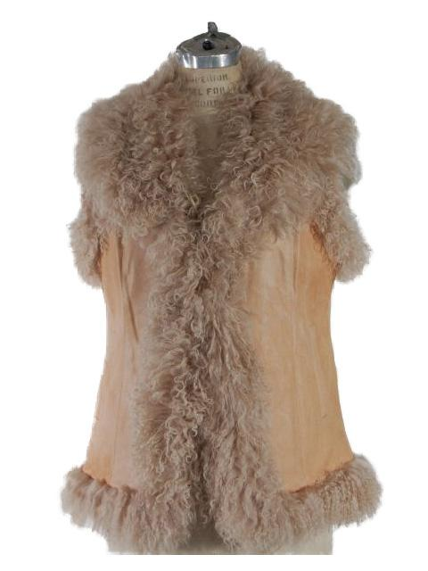 One of a Kind Look Warm Camel Tibetan Lamb Vest