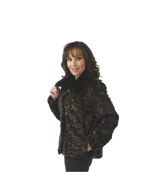 Sheared Mink Fur Section Jacket