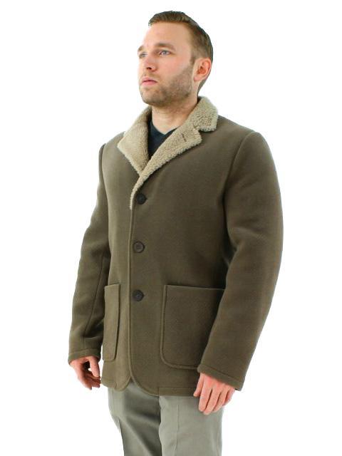 Textured Fabric & Shearling Jacket
