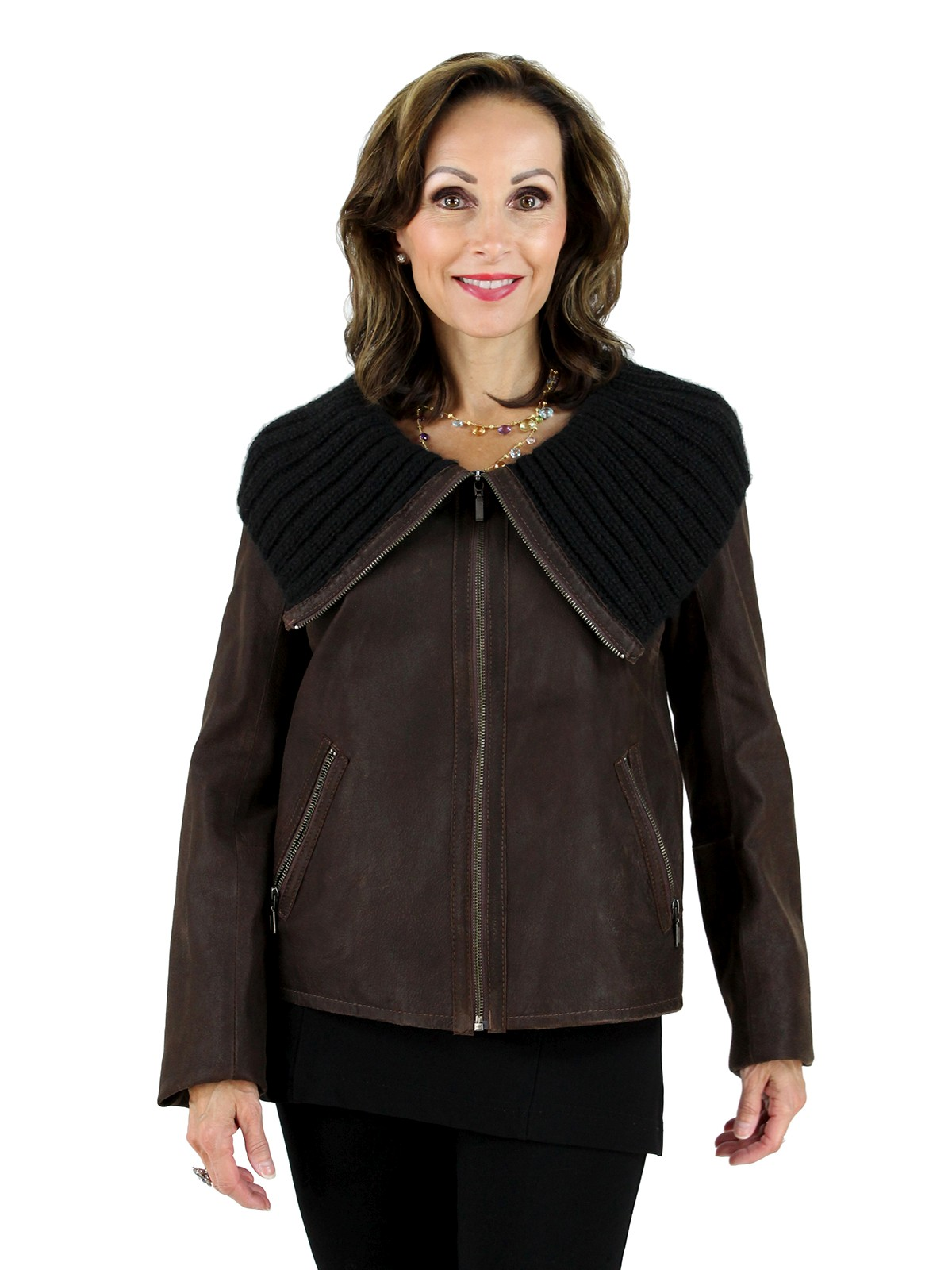 Woman's Dark Chocolate Brown Leather Jacket