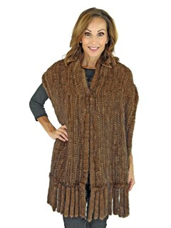 Gorski Woman's Scanbrown Knit Mink Fur Shawl with Fringe