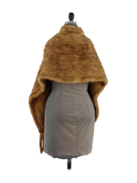 Mink Fur Knit Wrap w/ Fringe