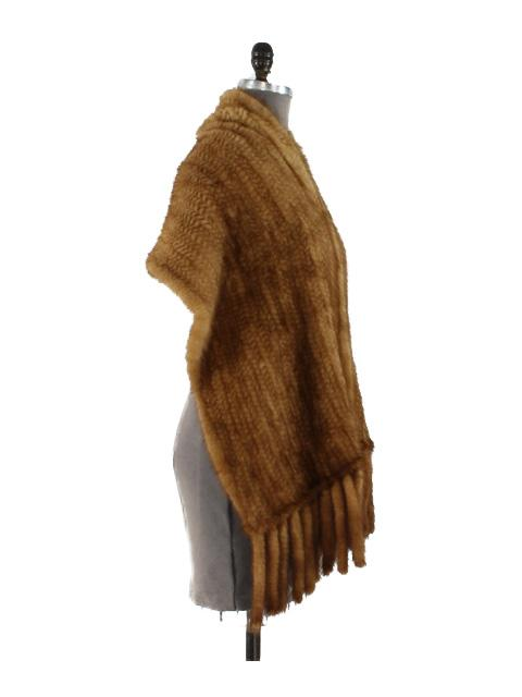 Mink Fur Knit Wrap w/ Fringe