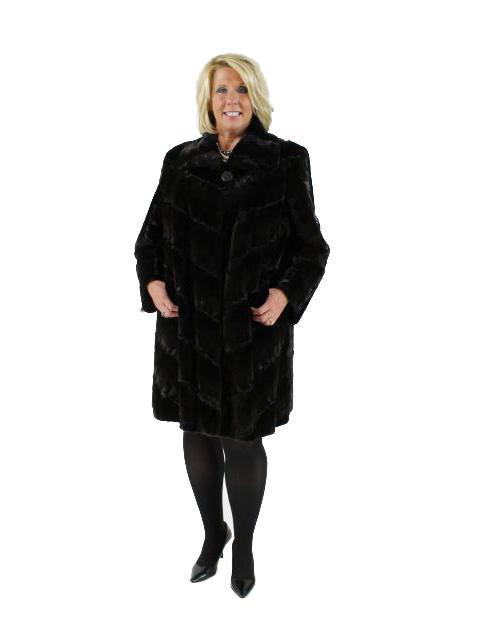 Woman's Mahogany Sheared Mink Fur Stroller with Karakul Trim