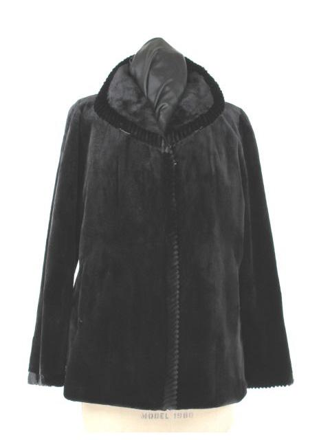 Reversible Sheared Mink Fur Jacket w/ Matching Mink Trim