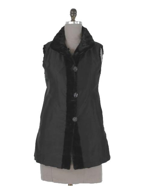 Beautiful LBD to Jeans Black Belted Petite Mink Section Vest