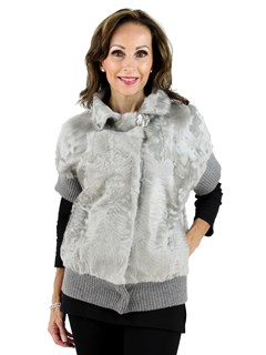 Gorski Woman's Silver Grey Lamb Fur Vest