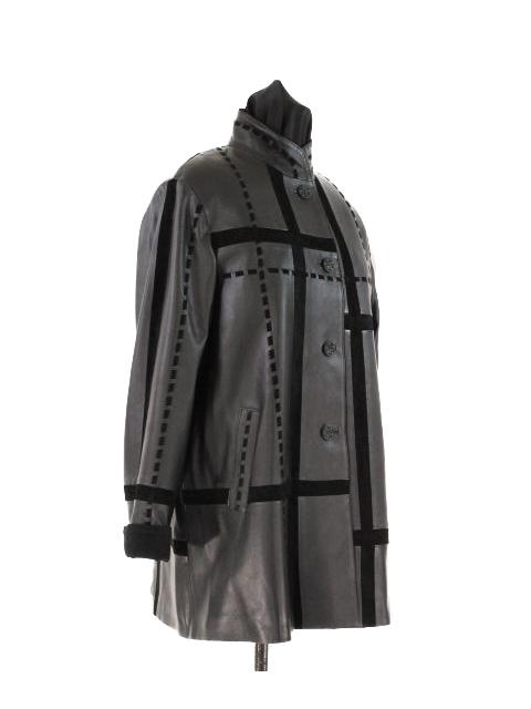 Leather Swing Coat w/ Matching Suede Inserts