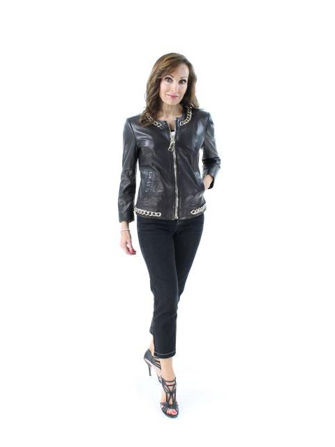 Fashion Forward Black Leather Jacket with Chains