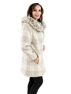 Woman's Beige Tan Cloth and Badger Fur Jacket