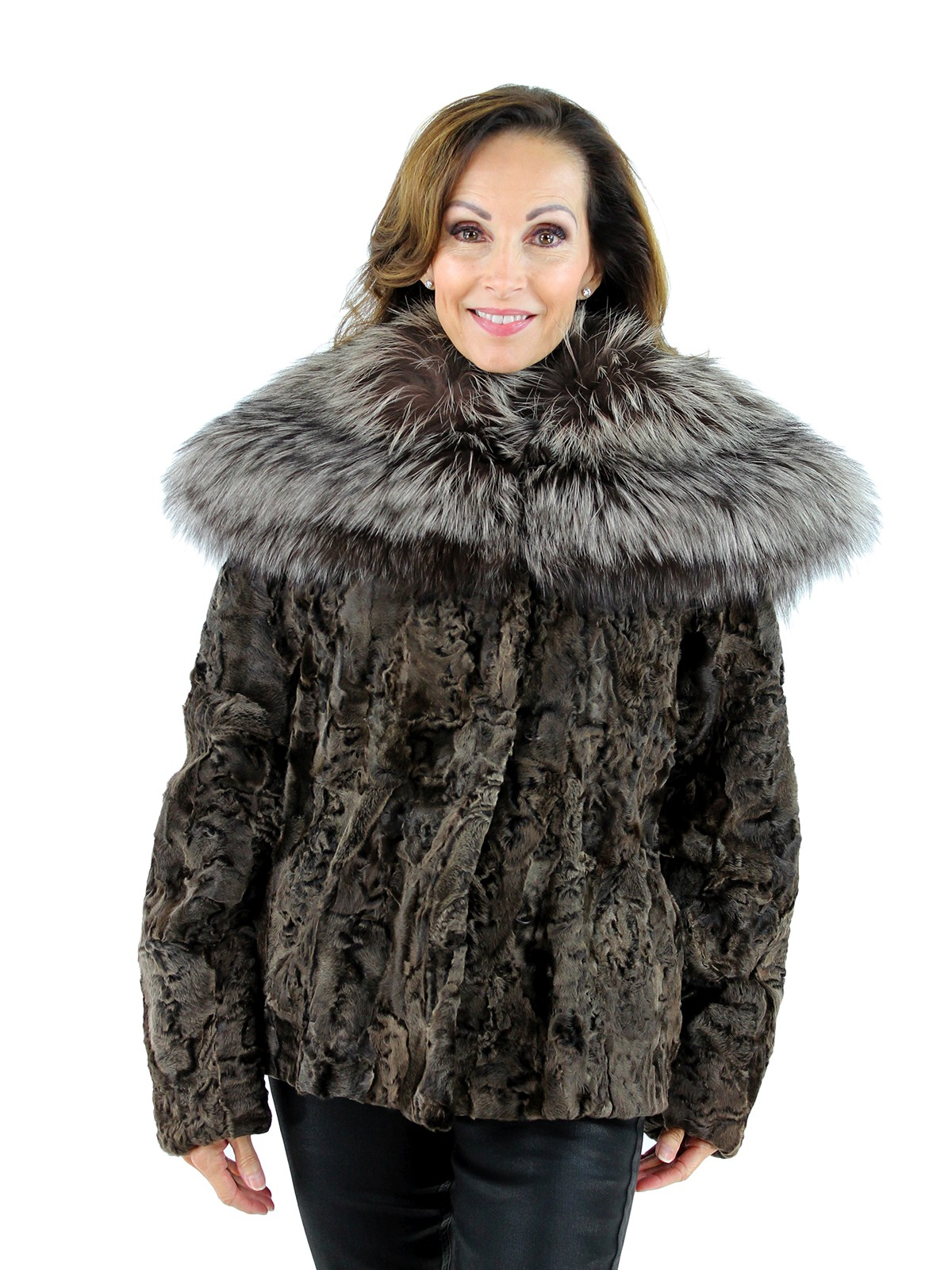 Woman's Brown Karakul Lamb Jacket with Large Silver Fox Collar