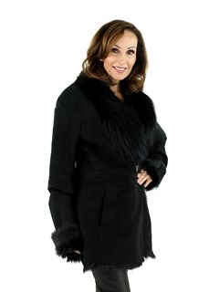 Woman's Black Goat Shearling Jacket with Black Fox Fur Collar