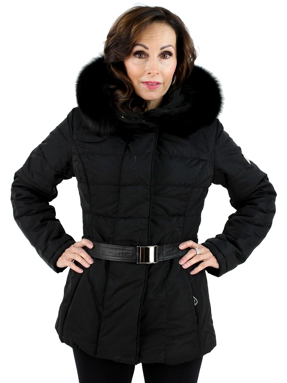 Gorski Woman's  Black Apres Ski Jacket with Black Fox Trimmed Hood