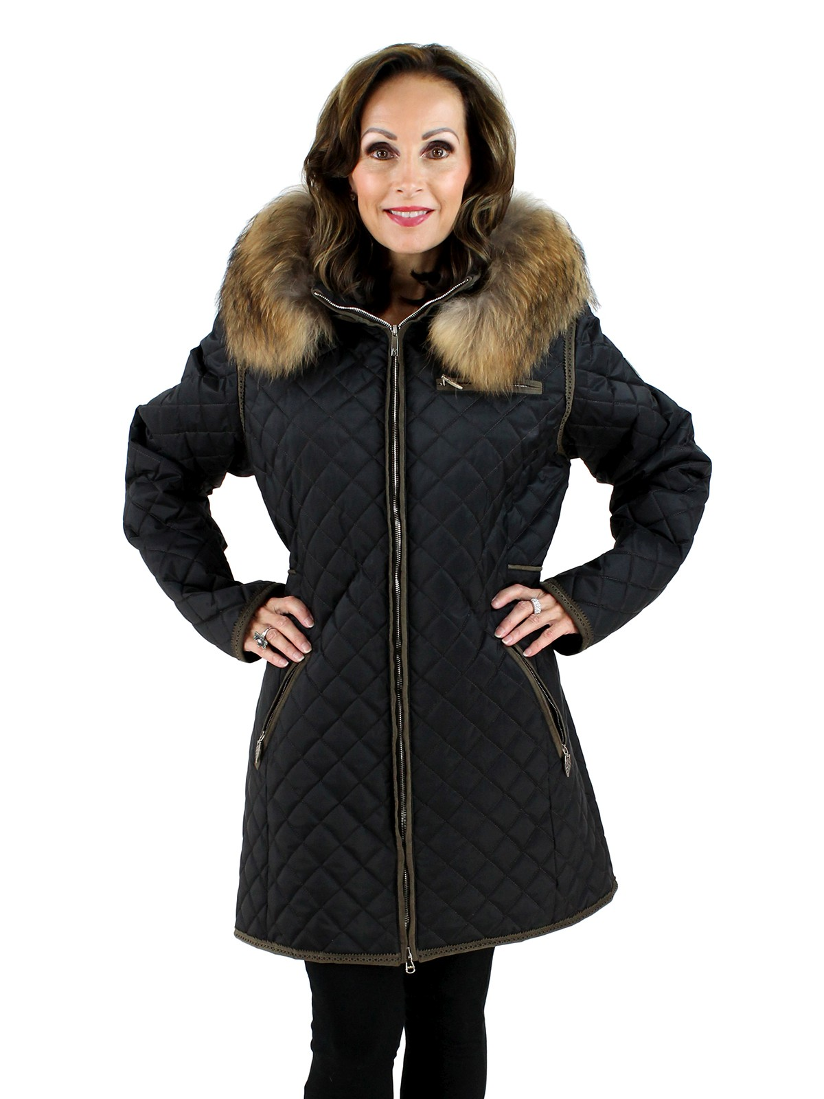 Woman's Black Fabric Quilted Jacket