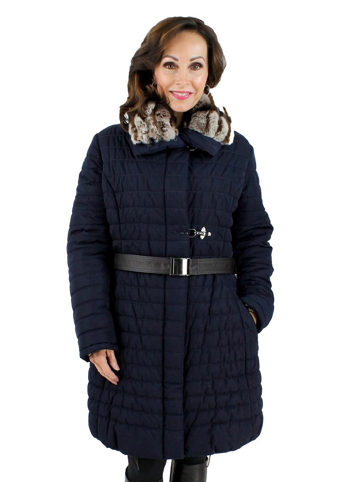 Gorski Navy Woman's Apres-Ski Coat with Dyed Brown Rabbit Collar