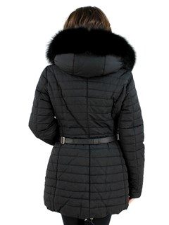 Gorski Woman's  Nero Fabric And Fox Apres-Ski Jacket