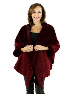 Woman's Cranberry Red Shearling Lamb Cape Jacket