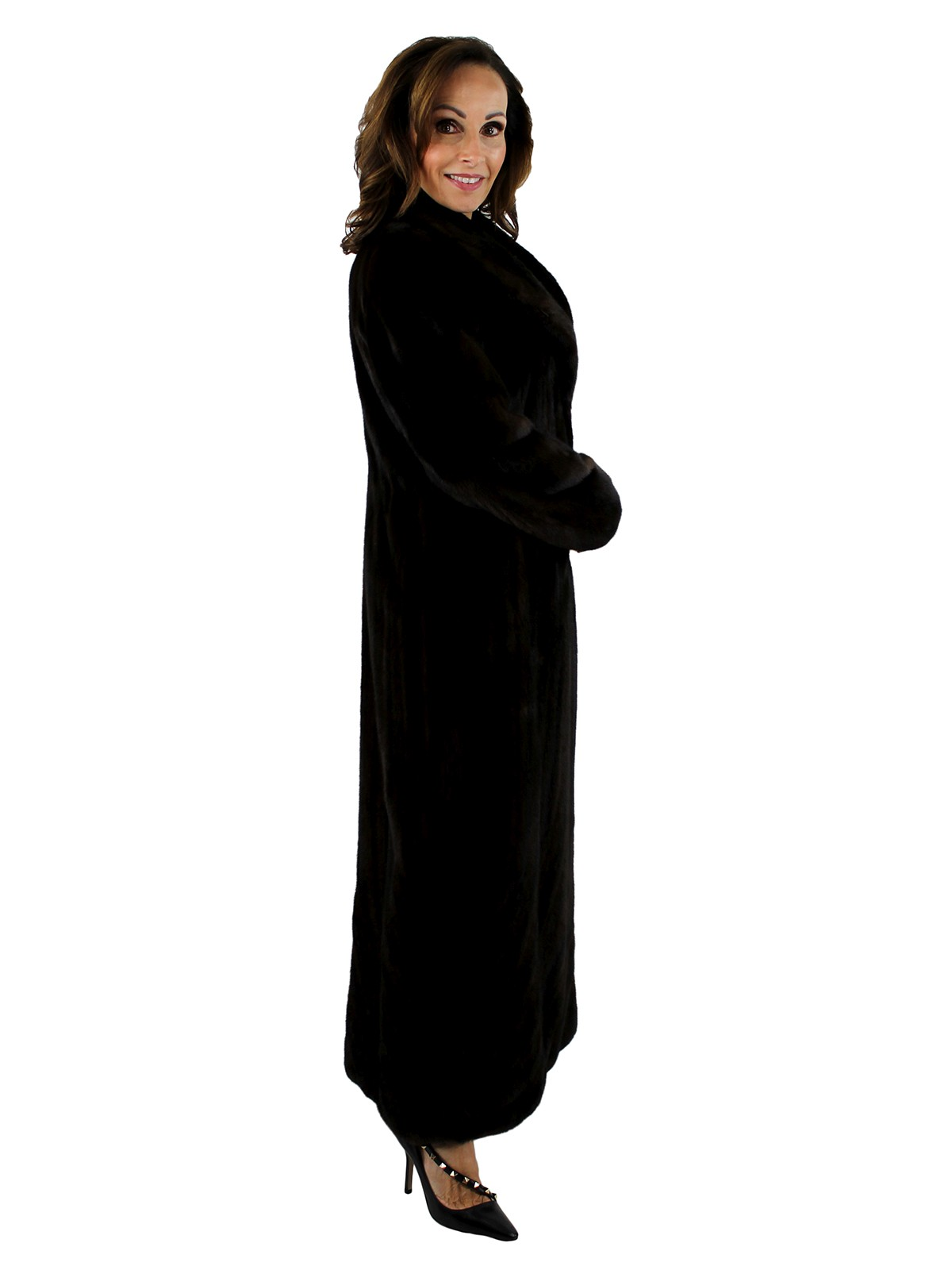 Gorski Mahogany Directional Let Out Mink Coat Reversible to Taffeta