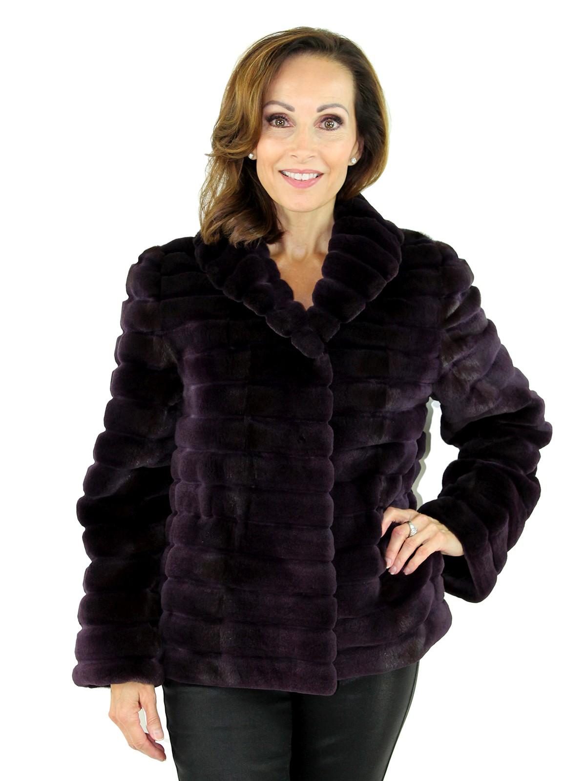Gorski Woman's  Amethyst Grooved Sheared Mink Fur Jacket