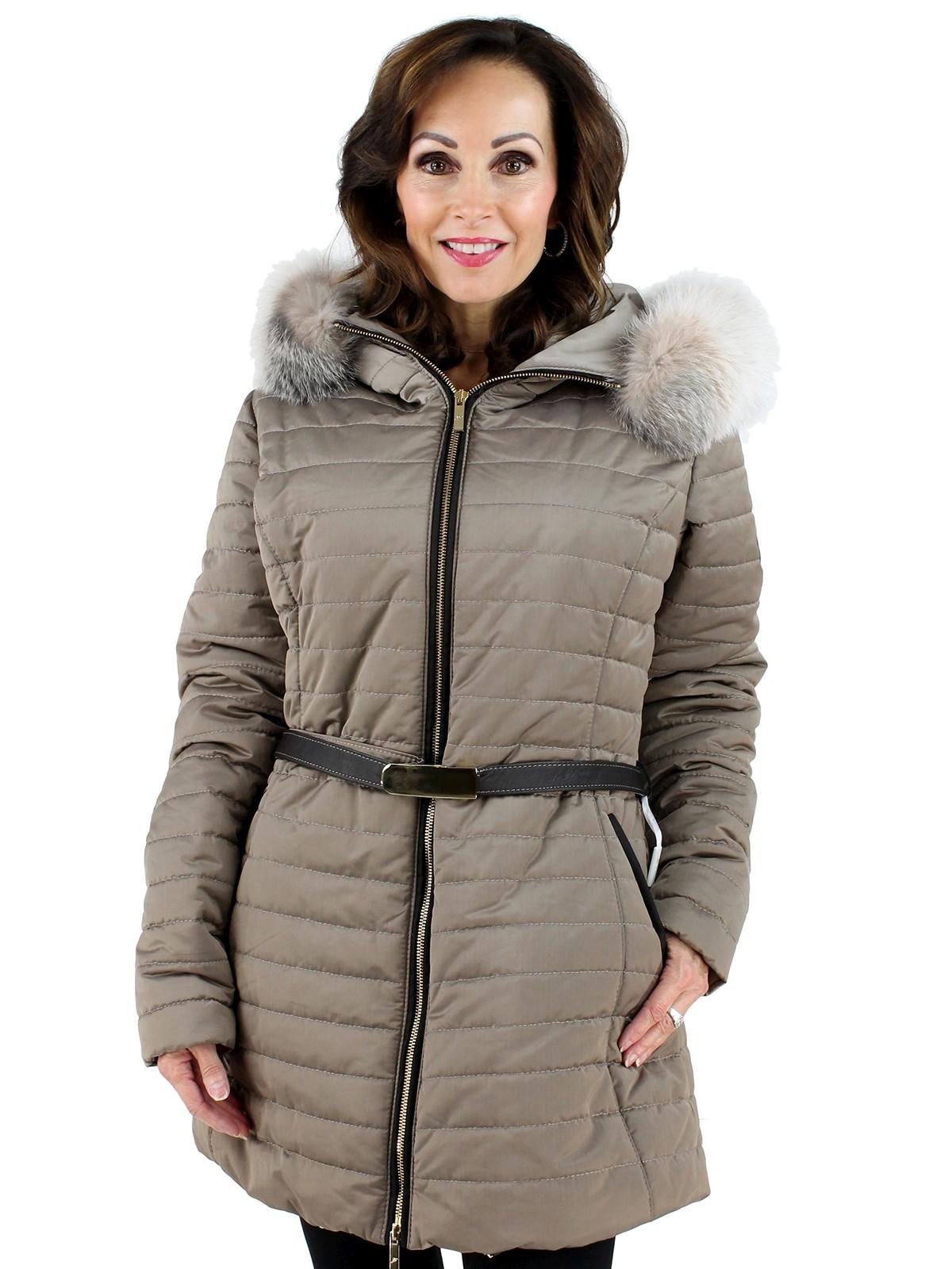 Gorski Woman's Zinco Fabric And Fox Fur Jacket