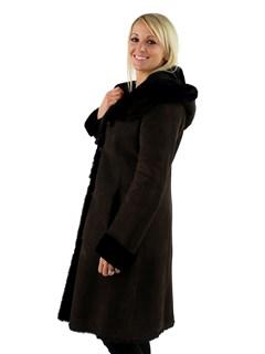 Christia Woman's Dark Brown Hooded Shearling Lamb Stroller