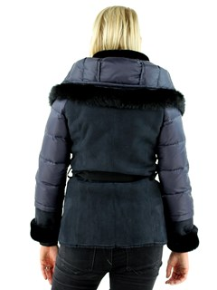 Christia Woman's Navy Blue Hooded Shearling Lamb Parka