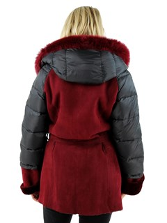 Christia Woman's Cranberry Red Shearling Lamb Parka