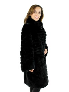 Gorski Woman's  Black Rex Rabbit Fur Stroller