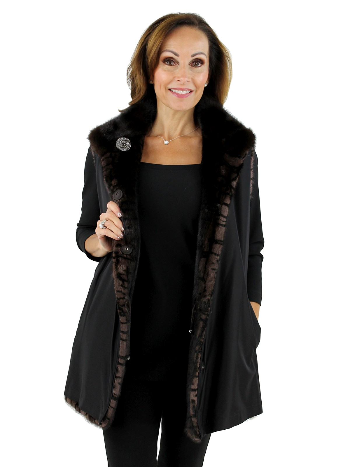 Gorski Brown Print Mink Vest Reverse to Black Taffeta