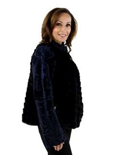 Gorski Woman's Navy Mink Fur and Karakul Fleece Jacket
