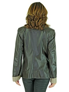 Woman's Brown and Beige Leather Zipper Jacket