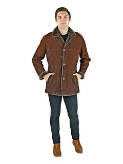 Man's Brown Shearling Lamb Jacket