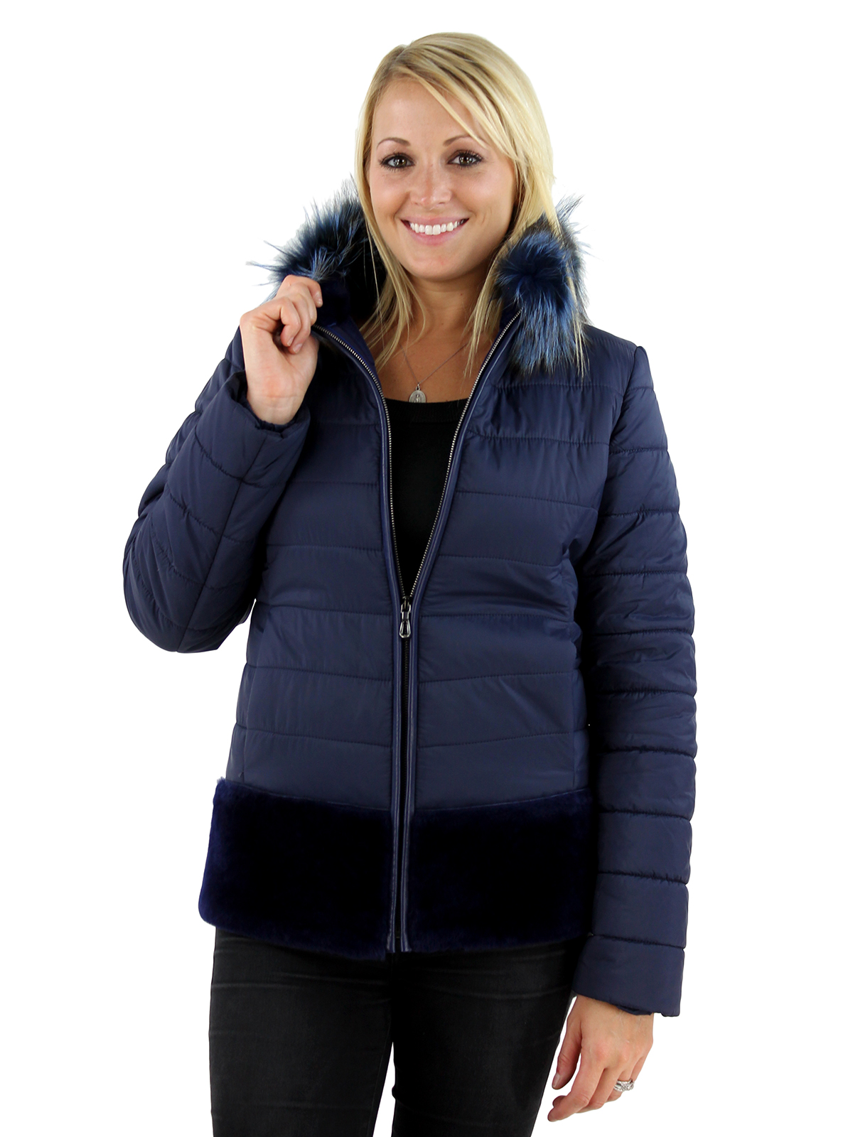 Woman's Navy Shearling and Fabric Jacket