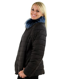 Woman's Light Brown Fabric and Shearling Lamb Jacket