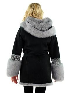 Christia Woman's Dark Grey Toscana Shearling Stroller with Hood