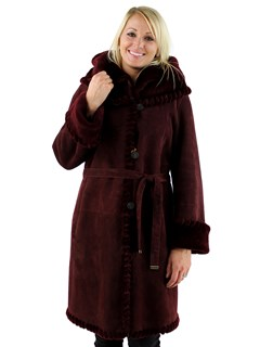 Christia Woman's Deep Wine Hooded Shearling Parka