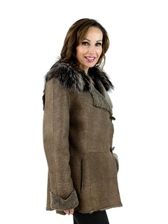 Brown Stone Shearling Jacket