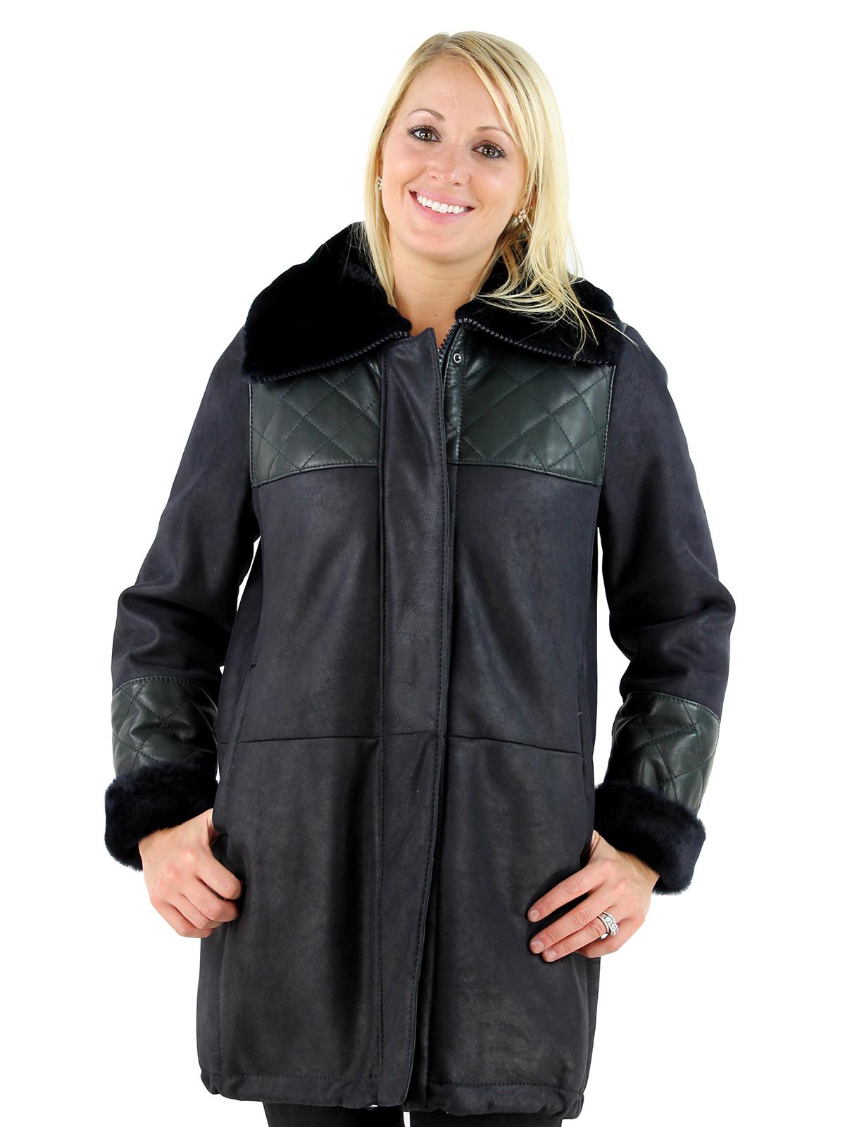 Woman's Navy Shearling Jacket