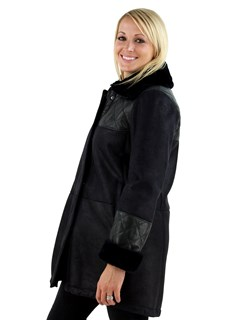 Woman's Navy Shearling Jacket